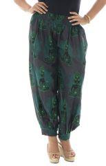 Pantalon grande taille coloré avec un smock à la taille Mirza 291923