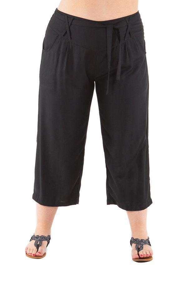 Pantalon grande taille coupe 3/4 et smocké noir Sully 295619