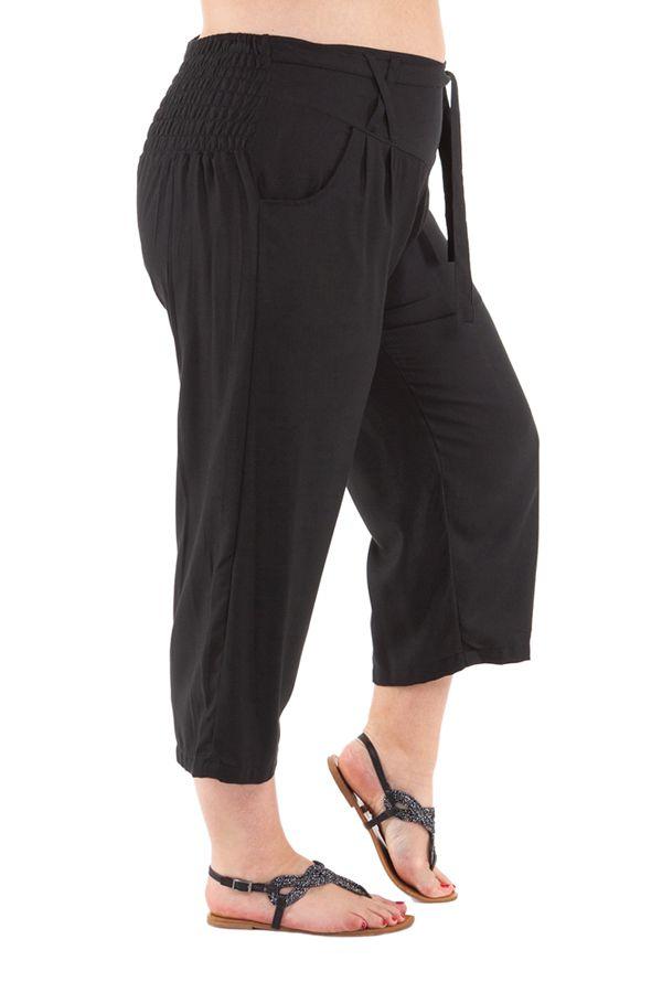 Pantalon grande taille coupe 3/4 et smocké noir Sully 295620