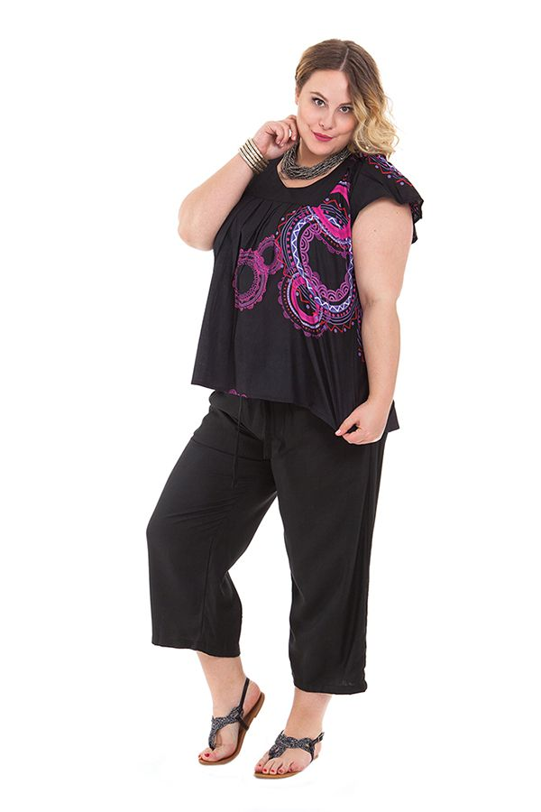 Pantalon grande taille coupe 3/4 et smocké noir Sully 325476