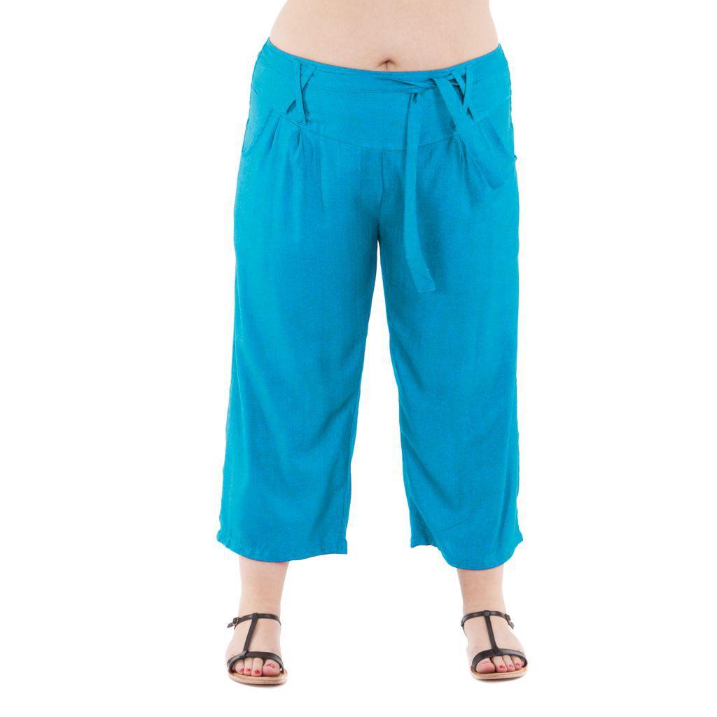 Pantalon grande taille coupe 3/4 et smocké turquoise Sully 295601