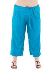 Pantalon grande taille coupe 3/4 et smocké turquoise Sully 295602