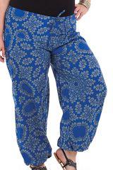 Pantalon grande taille femme ethnique Gaston Bleu 282144
