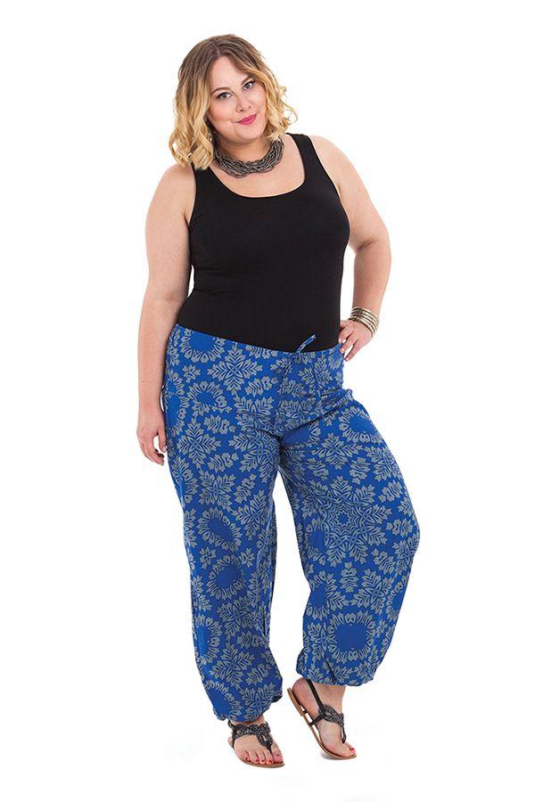 Pantalon grande taille femme ethnique Gaston Bleu 282145