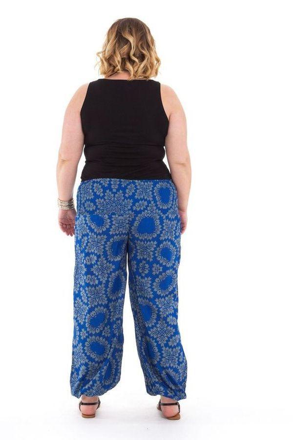 Pantalon grande taille femme ethnique Gaston Bleu 282146