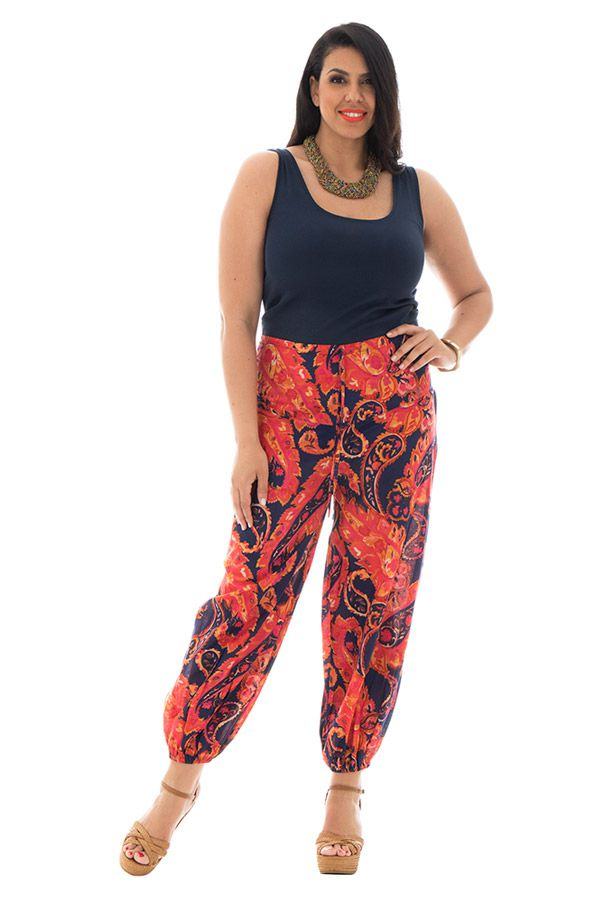 Pantalon grande taille fluide coloré en coton Perla 293584