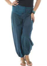 Pantalon grande taille fluide en voile de coton bleu Perla 291906