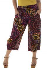 Pantalon grande taille haut en couleur smocké à la taille Amalys 291895