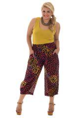 Pantalon grande taille haut en couleur smocké à la taille Amalys 292550