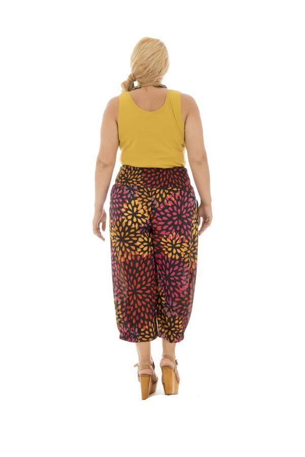 Pantalon grande taille haut en couleur smocké à la taille Amalys 292551