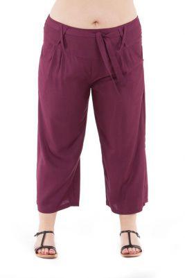 Pantalon grande taille simple coupe 3/4 et smocké violet Sully 295613