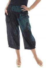 Pantalon grande taille smocké  coupe 3/4 avec jolis imprimés Lazy 291891