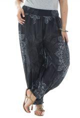 Pantalon grande taille smocké à la taille avec mandalas Magguie 291920