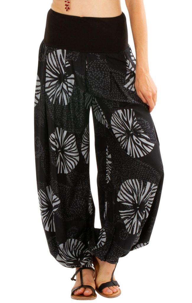 Pantalon gris fluide pour femme avec une coupe large Morjane