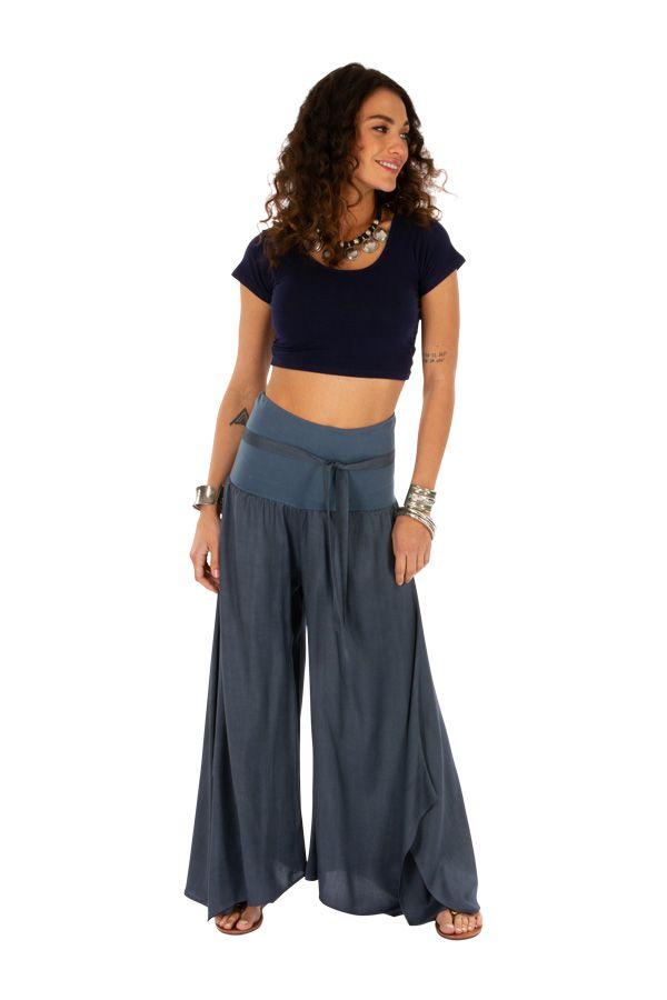 Pantalon gris pour femme effet patte d'eph fluide Monika 311066