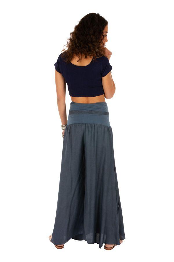 Pantalon gris pour femme effet patte d'eph fluide Monika 311067