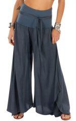 Pantalon gris pour femme effet patte d'eph fluide Monika 311068