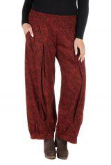 Pantalon hivers grande taille Rouge ample imprimé et original Stepha 298468