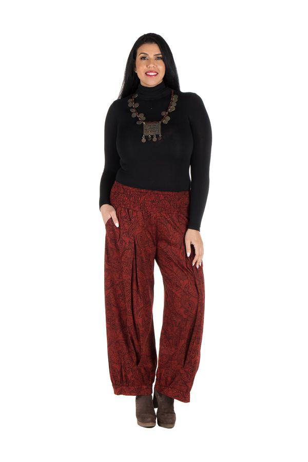 Pantalon hivers grande taille Rouge ample imprimé et original Stepha 298469