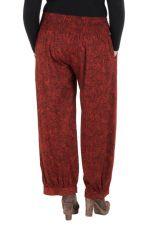 Pantalon hivers grande taille Rouge ample imprimé et original Stepha 298470