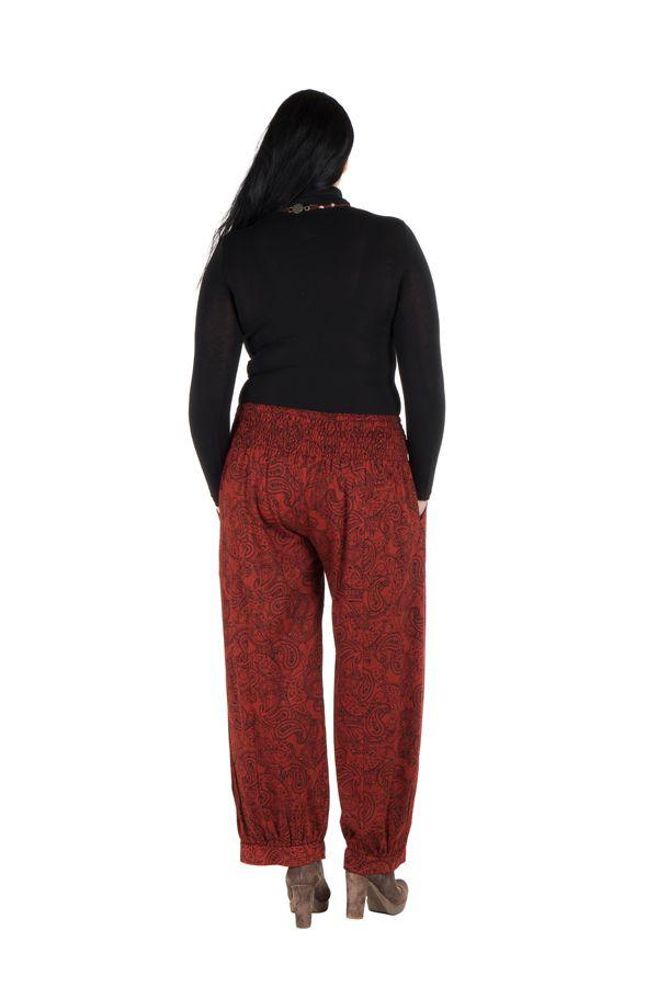 Pantalon hivers grande taille Rouge ample imprimé et original Stepha
