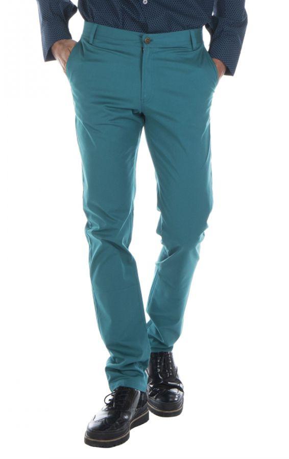 Pantalon homme chino bleu chic fête couleur pas cher Jule 314356