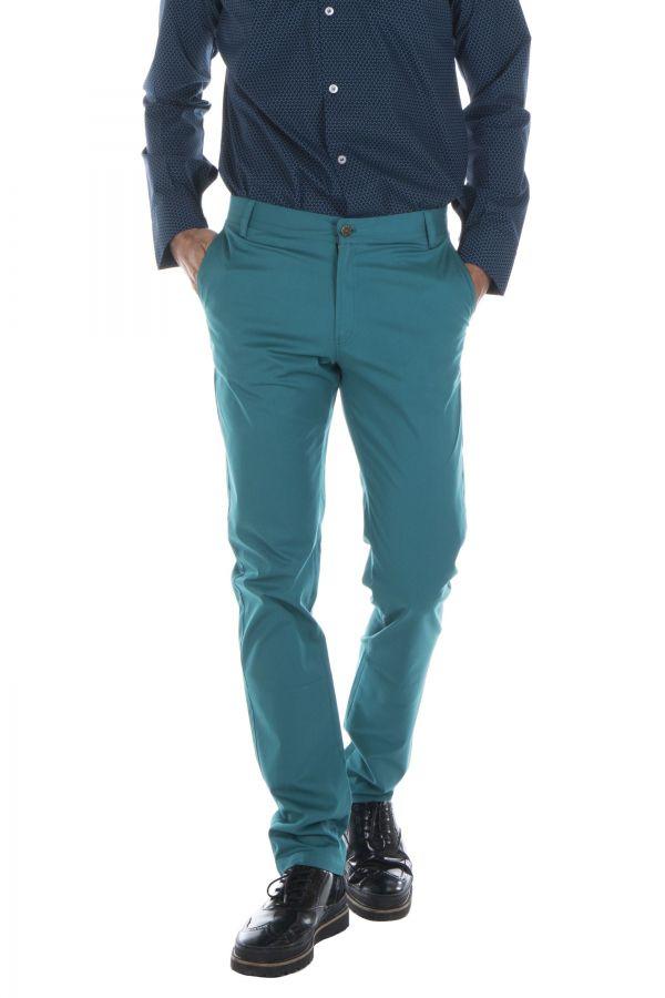 Pantalon homme chino bleu chic fête couleur pas cher Jule 314357