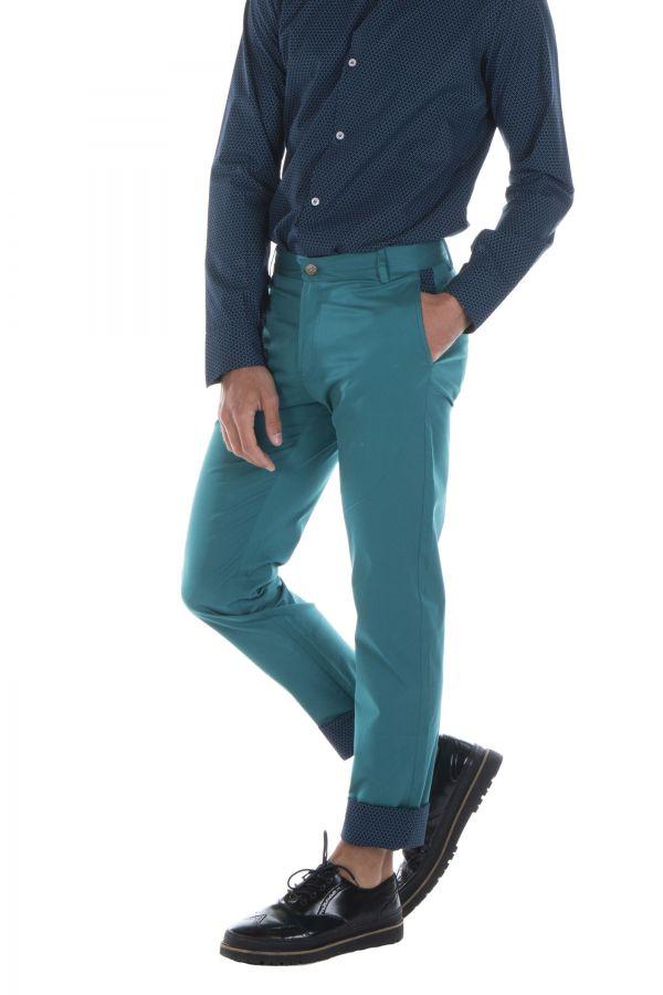 Pantalon homme chino bleu chic fête couleur pas cher Jule 314358