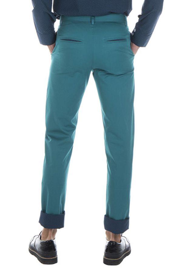 Pantalon homme chino bleu chic fête couleur pas cher Jule 314359