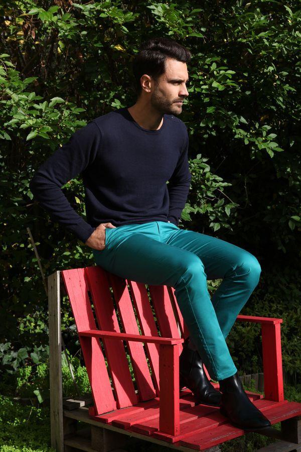 Pantalon homme chino bleu chic fête couleur pas cher Jule 314364
