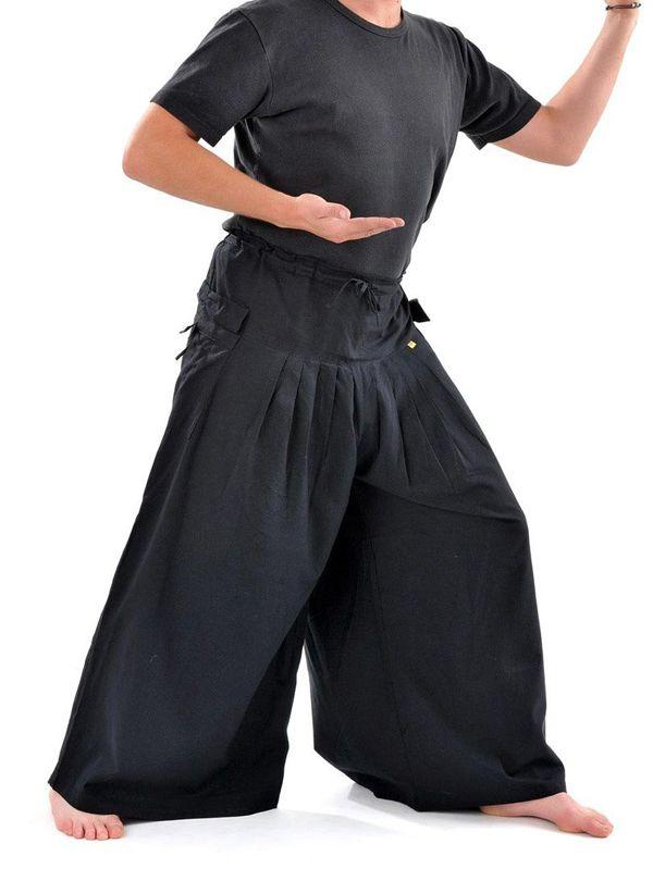 Pantalon homme noir épais ultra large effet samourai Ying 304635