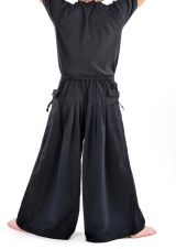 Pantalon homme noir épais ultra large effet samourai Ying 304636