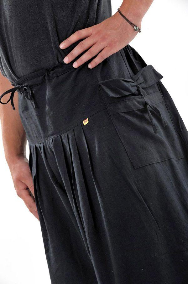 Pantalon homme noir épais ultra large effet samourai Ying 304637