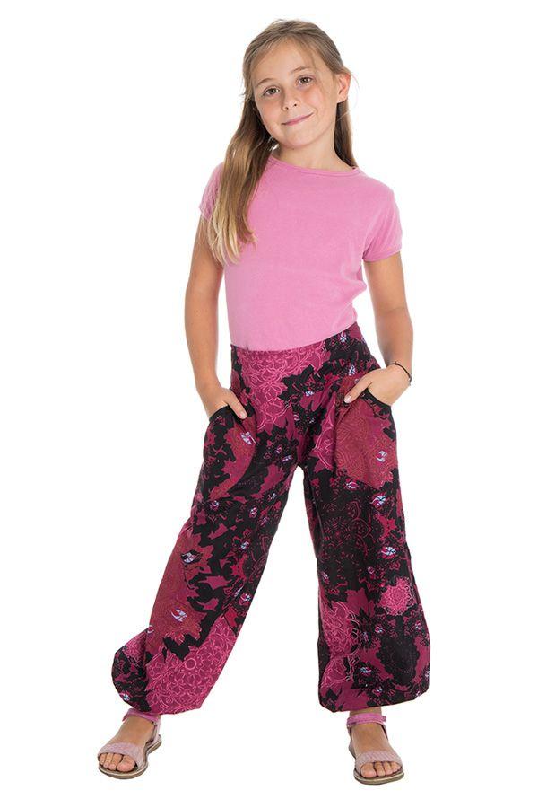 Pantalon imprimé fantaisie coupe droite smocké au dos Perla 294638