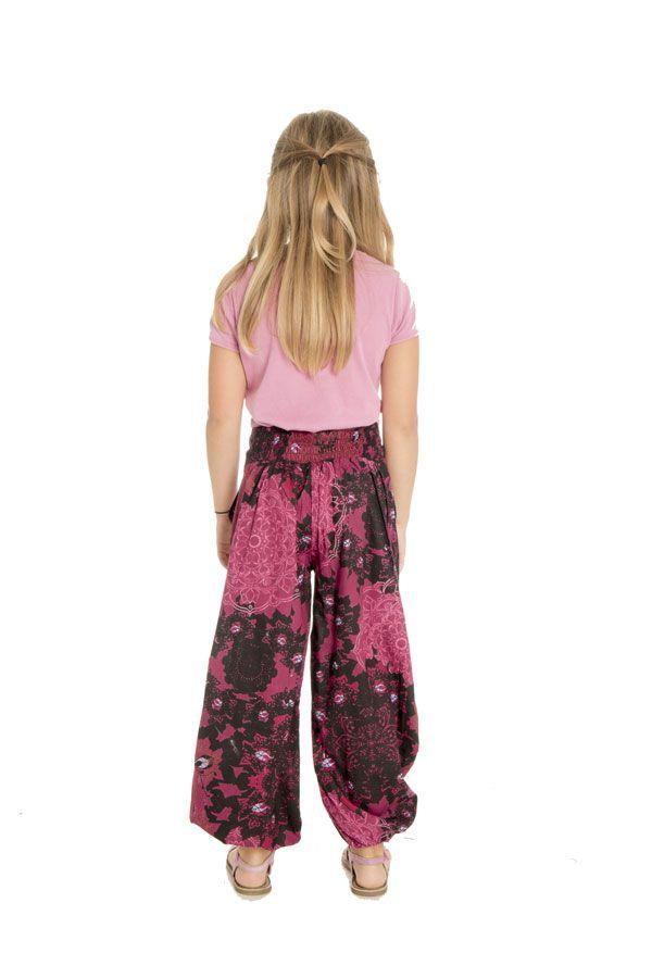 Pantalon imprimé fantaisie coupe droite smocké au dos Perla 294639