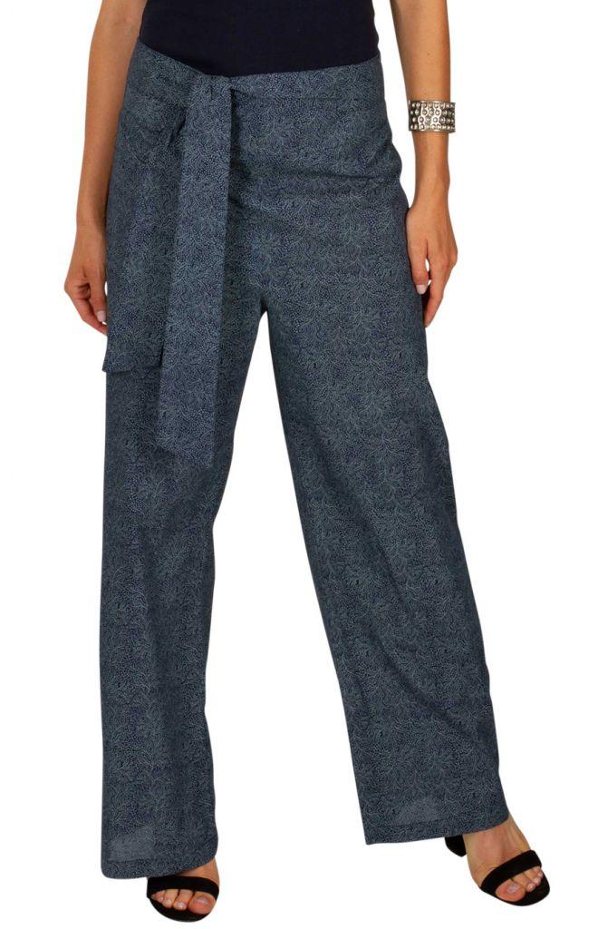 Pantalon imprimé gris femme coupe droite fluide Lucia