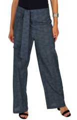 Pantalon imprimé gris femme coupe droite fluide Lucia 313072