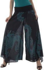 Pantalon imprimé Turquoise Gris Ethnique Ample et Original Castello 292295
