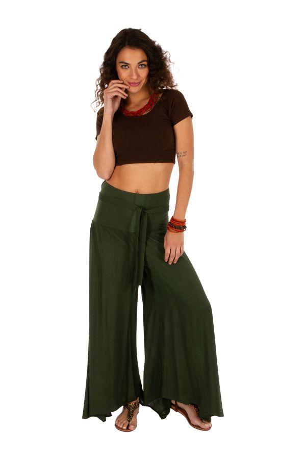 Pantalon kaki pour femme large et évasé look baba Monika 311069