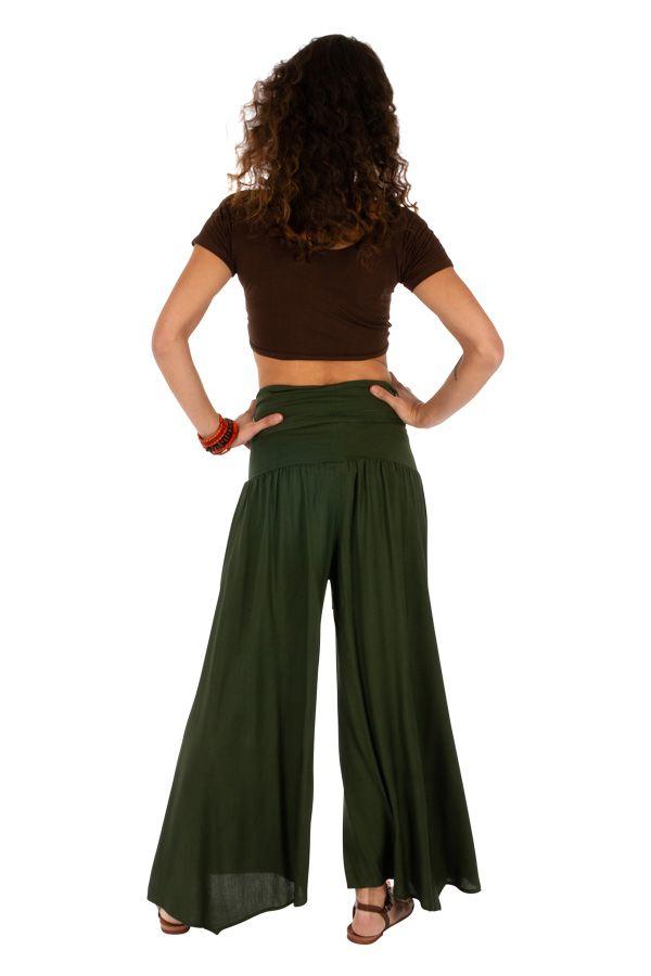 Pantalon kaki pour femme large et évasé look baba Monika 311070