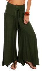 Pantalon kaki pour femme large et évasé look baba Monika 311071