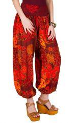 Pantalon large avec imprimé fantaisies colorés et smocks Adaline 294970