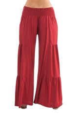 Pantalon large Bordeaux style volants Ethnique et Original Donald 282354