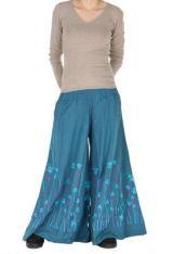 Pantalon large ceinture smockée laly bleu 260970
