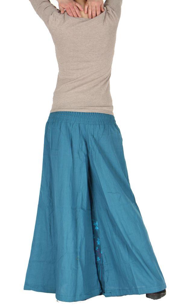 Pantalon large ceinture smockée laly bleu 260971