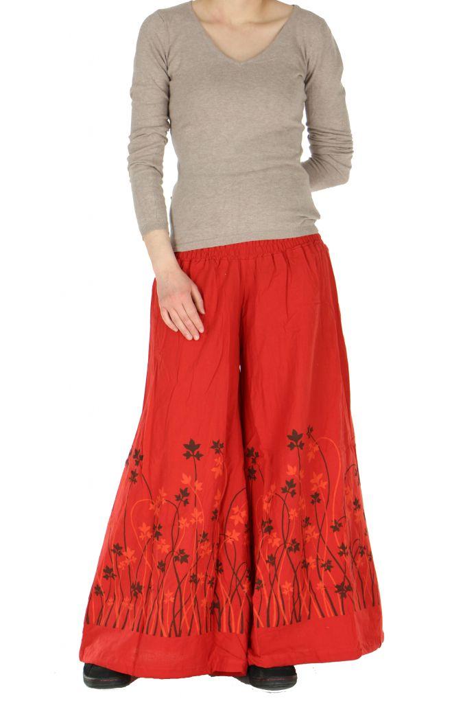 Pantalon large ceinture smockée laly rouge 260972