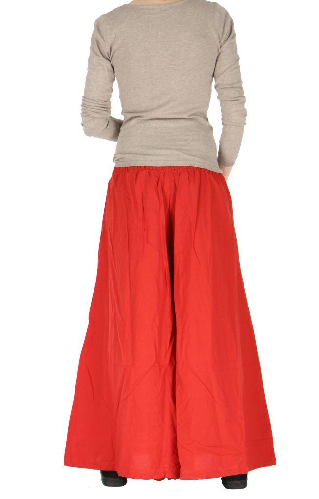 Pantalon large ceinture smockée laly rouge 260973