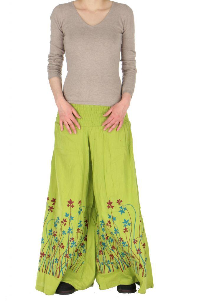 Pantalon large ceinture smockée laly vert 260966