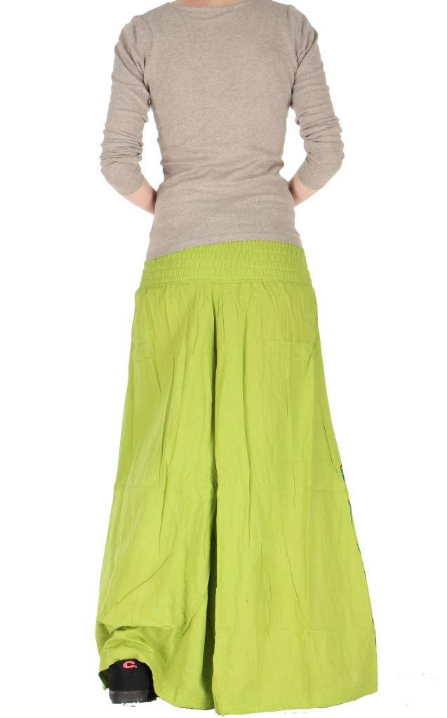 Pantalon large ceinture smockée laly vert 260967