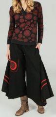 Pantalon large effet jupe ethnique Noir motifs rouge Anton 273654